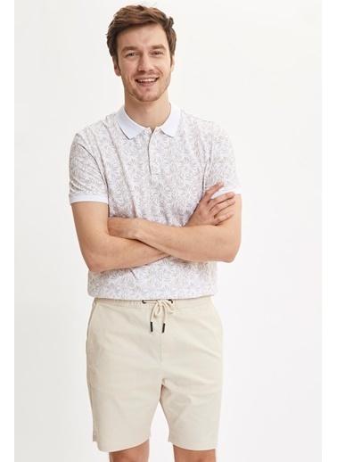 DeFacto Çiçek Desenli Polo Yaka Slim Fit Pike Tişört Bej